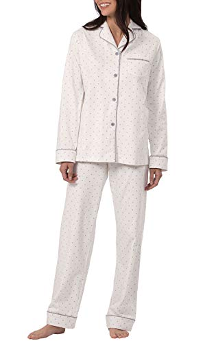PajamaGram PJs Women Soft Jersey - Cotton Sleepwear for Women, Cream, M, 8-10