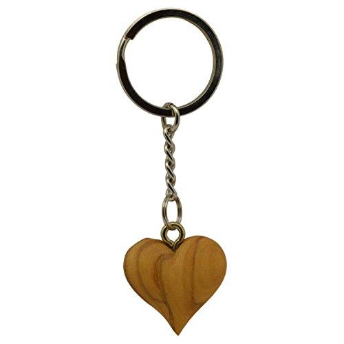 Handschmeichler Holz Schlüsselanhänger Herz aus Olivenholz natur, 3cm