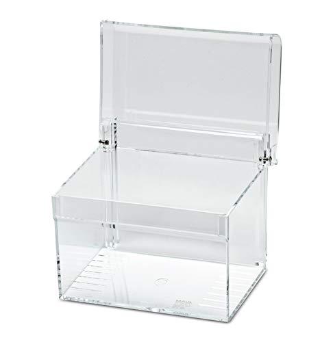 Maul Karteikasten Acryl, DIN A6, Inklusive 100 Karteikarten, Glasklar