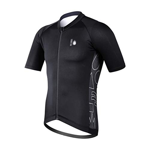 KGDC Cycling Bike Jersey Mens Cycling Jersey Shirt Black Short Sleeve Bike Jersey Riding Tops Outdoor MTB Professional Slim Cycling Clothing Tops Biking Shirts (Size : L)