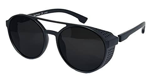 FIKO CYBER PUNK Steampunk Gafas de sol Polarizadas Hombre y Mujer Redondo Lentes de sol Marco UV400