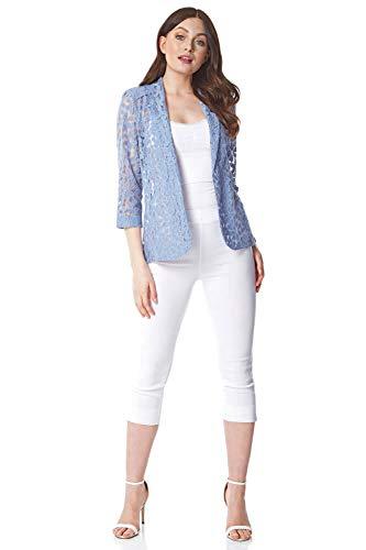 Roman Originals Donna Floreale Lace Jacket - Ladies Petal Cotton Blazer Smart Formal Occasion Wedding Guest Ascot Cardigan da sera su misura - Blu - Taglia 12