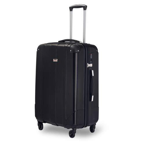 QWEPOI Maleta rígida de viaje con candado TSA y asas, tamaño mediano, color negro, para exteriores