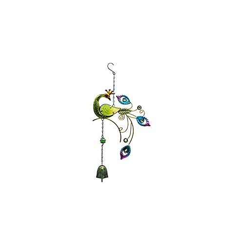 Gmasuber 3D Rotating Wind Chimes Peacock Shape Metal Crafts Painted Ornaments Bell Pendants Home Decoration-