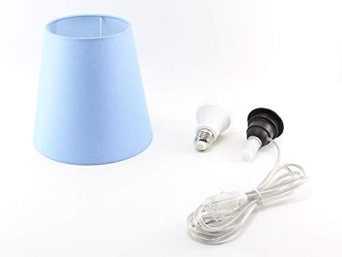 Kit Completo Paralume Celeste + Adattatore portalampada E27 con filo e interruttore trasparente - Lampada Led A+ in omaggio! Trasforma una bottiglia in lampada! Lampabottiglia.it
