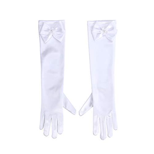 PRETYZOOM 1 par de Guantes de Pajarita para Nias de Flores Guantes de Satn para Vestir de Princesa hasta La Mueca Guante de Desfile para Boda Disfraz de Fiesta Talla L (Blancanieves)