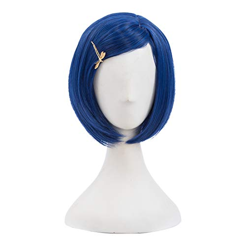 Morticia Short Straight Blue Women Bob Full Bang Kids Wig with Gold Dragonfly Hairpin (Kid)