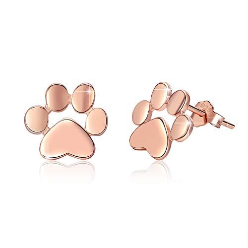 BAMOER Pendientes de Plata 925 Mujer Hipoalergenicos Pendientes de Animales Lindos Aretes Tipo Garra de Gato de Oro Rosa Regalos para Niñas