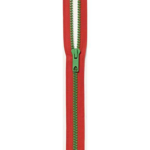 Prym S12 Rouge Fermeture Éclair avec Vert Kermitt Grosses Dents Bicolore à Fourche Fermeture Éclair, Plastique, Multicolore, 60 cm