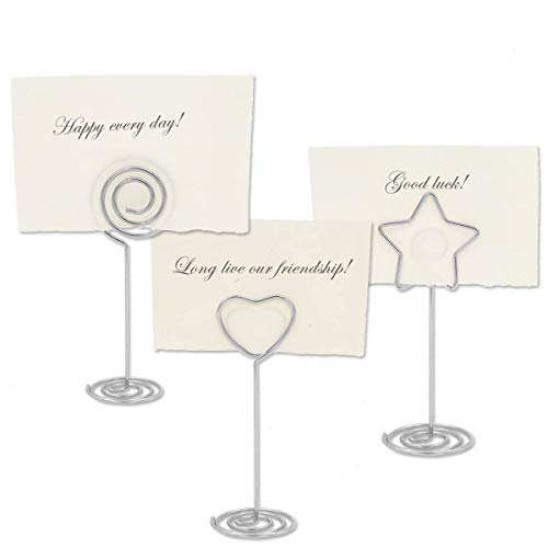 Winterworm 30 Pcs Sliver Stand Table Number Holders, Heart,Circle,Star Shape Card Photo Menu Name Holder