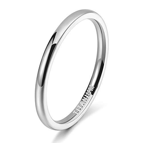 TICENTRAL チタン リング メンズ レディース 結婚指輪 ピンキーリング 婚約 記念日 2mm 極細 シンプル ジュエリー カラー:シルバー(シルバー,15)