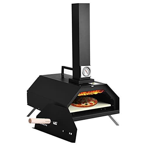 Forno per Pizza a Legna da Esterno, Forno Pizza Portatile in Acciaio Inox con Pietra per Pizza, Termometro...