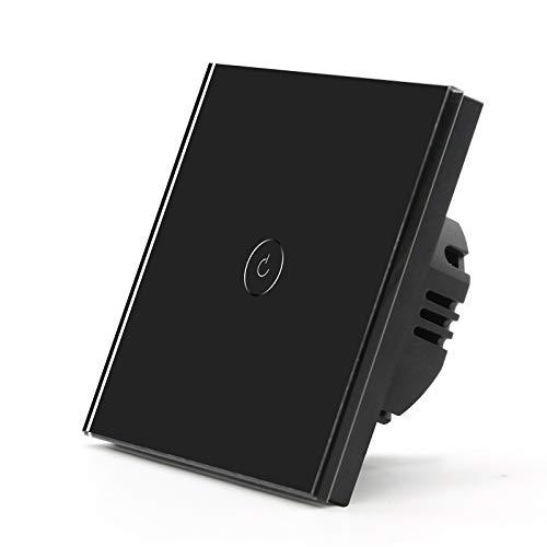 BSEED Interruptor de Pared wifi,Interruptor de Luz 1 Gang 2 Vías con Pantalla Táctil Negro,Compatible con Alexa, Google Home, Control de APP y Función de Temporizador【Se necesita Neutro】