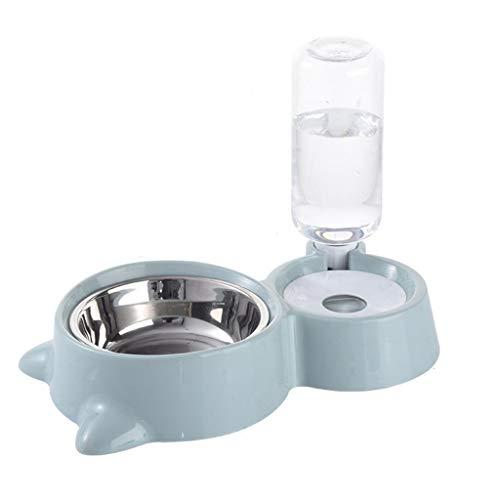 Hbao Cuenco para Perros 2 en 1 PP dispensador de Agua automático de Acero Inoxidable alimentador Antideslizante para Perros y Gatos Bebedero Lindo contenedor de Comida para Mascotas Caliente
