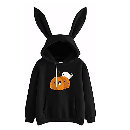 Wave166 Sudadera con capucha para mujer, diseño de orejas de conejo, con estampado de calabaza, manga larga, cuello redondo, suelta, informal, para Halloween, Negro , S