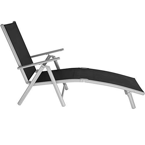 TecTake Bain de Soleil, Chaise Longue, Transat de Jardin à 7 Positions, Pliant, Grand Confort, Cadre Aluminium