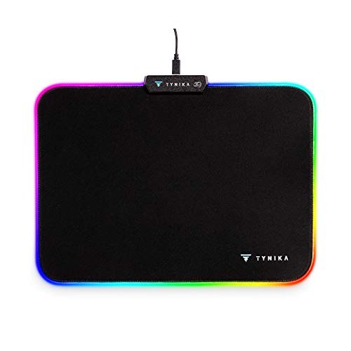TYNIKA Mouse Pad Led RGB Gaming Mouse Pad (13.8x9.8 inches) - Large Soft LED Mousepad with 14 Lighting Modes, Non-Slip Rubber Base - Waterproof Computer Keyboard Mouse Mat, 350x250x5mm