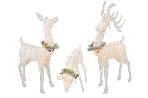 Top Treasures 3 Piece Reindeer Family Lighted Deer Set 210 Lights 52' Buck 44' Doe 28' Fawn Large Deer Family for Indoor or Outdoor Christmas Decorations Yard Art (White)