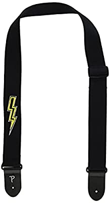Black Cotton Embroidered Lightning Bolt Guitar Strap