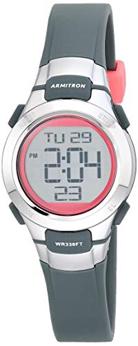 Armitron Sport Women's Quartz Sport Watch with Resin Strap, Gray, 12 (Model: 45/7012PGY)