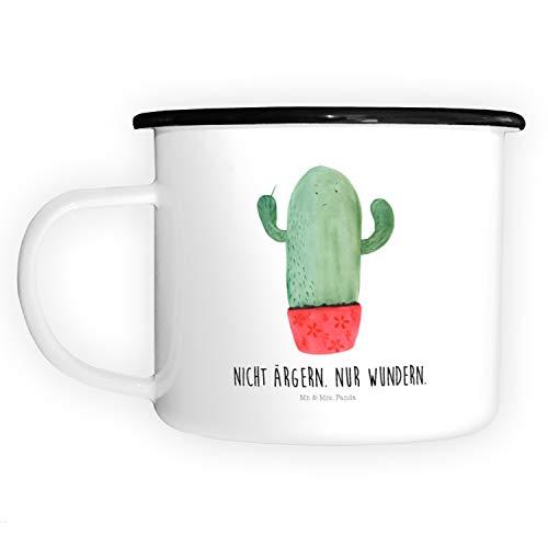 Mr. & Mrs. Panda Deko-Becher, Tassendruck, XL Emaille Tasse Kaktus wütend mit Spruch - Farbe Weiß