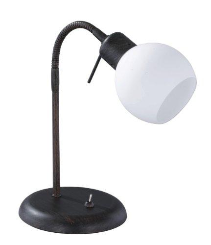 Trio Leuchten LED-Tischleuchte rostfarbig antik, inklusiv 1x E14, 4 Watt LED, Flexgelenk, Höhe maximal 40 cm, Glas opal matt weiß 524810128