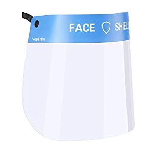 31V7d374h L. SS300  - Veperain Visera Protectora para la Cara,Protector Facial de Seguridad,plástico Ligero, Ajustable, Transparente,para Evitar la Saliva, Gotas, Polen y Polvo