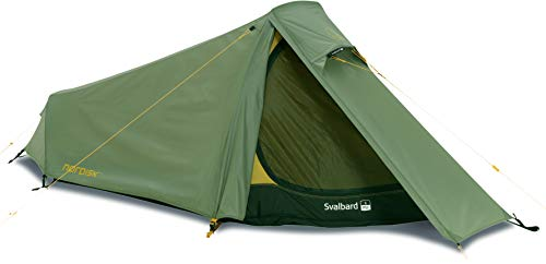 Nordisk - Svalbard 1 PU, strapazierfähiges, multifunktionales 1 Personen-Zelt, windresistent, wasserdicht, 100% Polyester in Rip Stop-Optik mit PU Beschichtung, UV 45+ Filter, Grün/Dusty Green