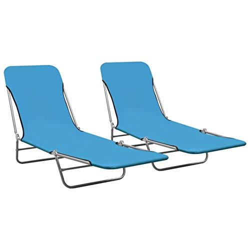 2 STK. Sonnenliege Klappbar Gartenliege Doppelliege Strandliege Faltbar Klappliege Liege Garten Relaxliege Balkonliege Liegestuhl Terrasse, bis 120 kg Blau