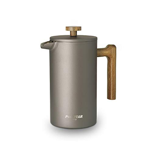 Poliviar - Cafetera de émbolo French Press, 1 litro, cafetera de doble pared aislada, filtro de mano, prensa de café con plunter y mango de madera, color gris (JX2020-FPY-DE -M)