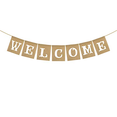 Vintage Rustic Jute Burlap Welcome Banner Home Fireplace Mantel Garland Decoration