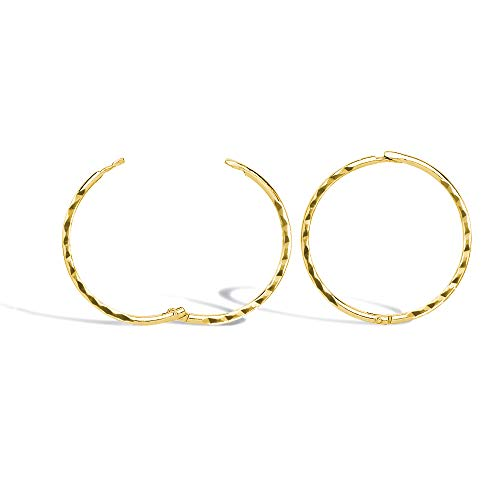 Jewelco London Solid 9ct Yellow Gold Diamond Cut Hinged Sleeper 1mm Hoop Earrings 15mm