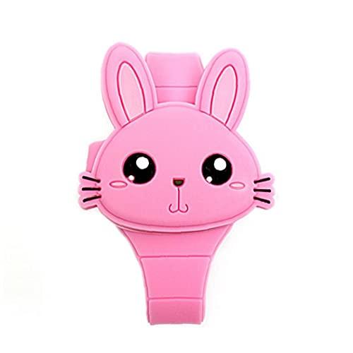 nJiaMe Niños Niños Toy Watch Reloj de la Historieta LED del silicón del Conejo en Forma de diseño de la Cubierta Reloj de Pulsera para los Regalos del bebé de Rosy
