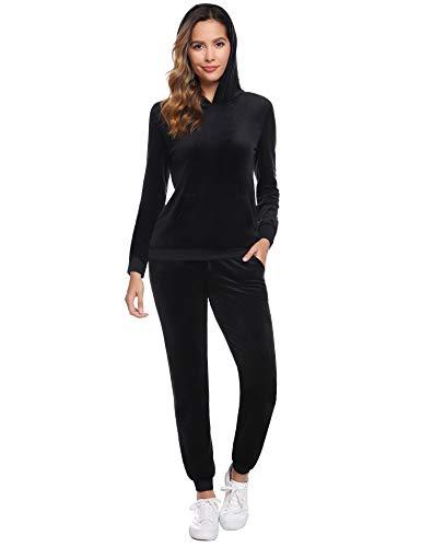 Abollria Damen Hausanzug Samt Velour Traingingsanzug Jogginganzug mit Taschen Freizeit Flauschig Zweiteiler Set Hoodie+Sporthose,Schwarz,XL