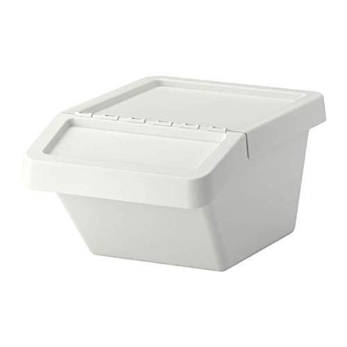 Ikea SORTERA   Cubo de la Basura de clasificación con Tapa, Blanco   37 l