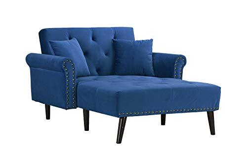 Casa AndreaMilano Modern Velvet Fabric Chaise Lounge-Futon Sleeper Single Seater with Nailhead Trim & Reclining Backrest (Navy)