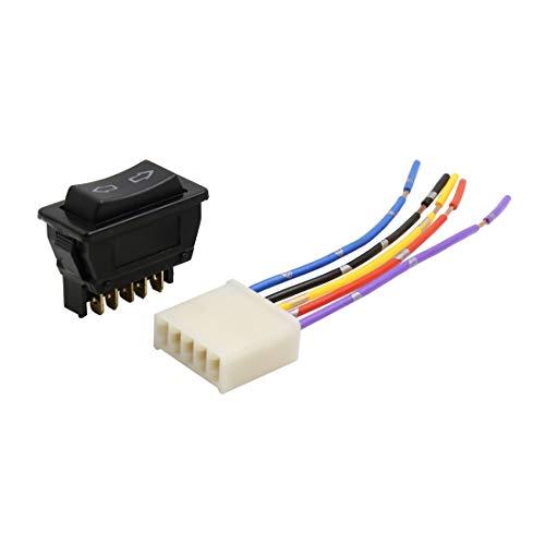Sourcingmap - Interruptor de 5 pines para ventana de coche con arnés de cable DC 12 V 2 en 1