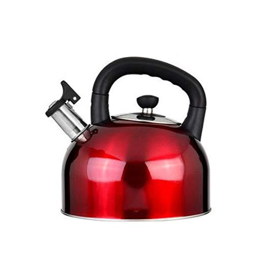 Bouilloire induction Gaz naturel bouilloire à gaz 304 en acier inoxydable sifflet ménage grande capacité cuisine épaissie bouteille d'eau chaude WHLONG (Color : Red, Size : 5L)