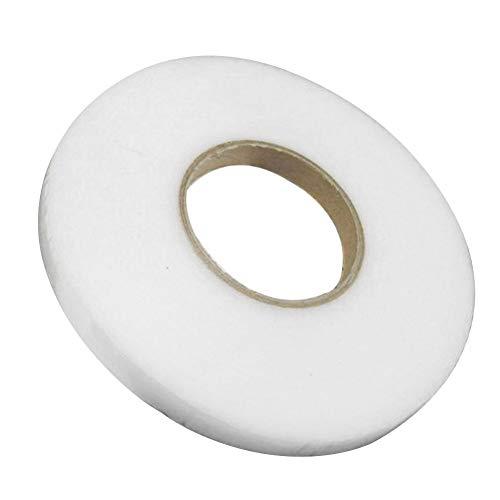 Cinta para dobladillo, 1 rollo de hierro sin costura a punto Accesorios para brujería Fusible Craft Tejido adhesivo DIY Web de doble cara (0,9 centímetros), blanco