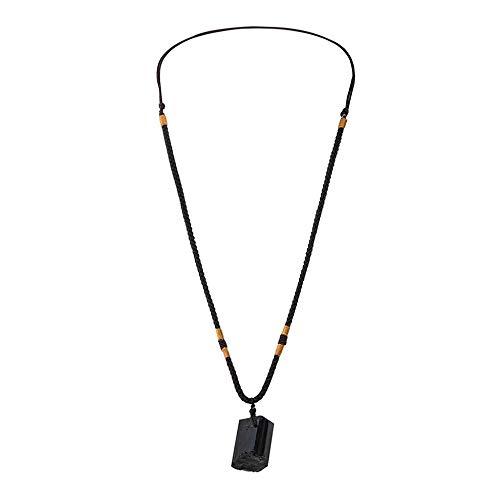 HHuin Colgante de piedra de turmalina natural de energía Chakra collar de cristal natural negro para hombres y mujeres regalo joyas