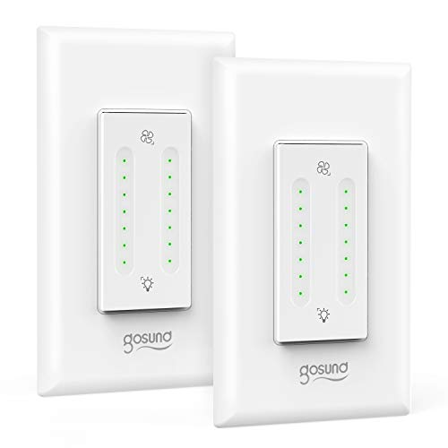 Gosund Smart Dimmer Switch, Smart WiFi Light Dimmer and Fan Speed Control Dual Switch Compatible with Alexa Google Home, with Timer and Remote Control, Single-Pole, Neutral Wire Required (2 Pack)