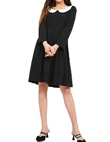 HaoDuoYi Womens Babydoll Neck Long Sleeve Zipper A Line, Black, Size Medium