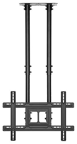 TabloKanvas Soporte de TV de alta resistencia de 50 a 80 pulgadas, soporte de techo ajustable de doble polo, para TV inclinable (color negro)