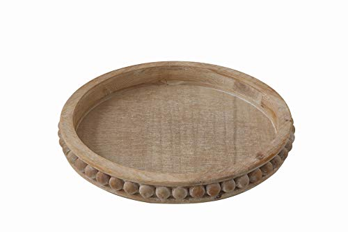 Creative Co-Op Whitewashed Round Decorative Wood Tray