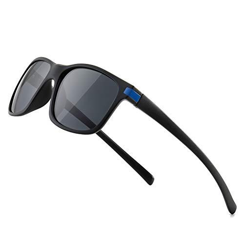 SUNGAIT Gafas de sol Hombres Mujeres Polarizadas clásicas cuadradas Diseño Negro/gris K158