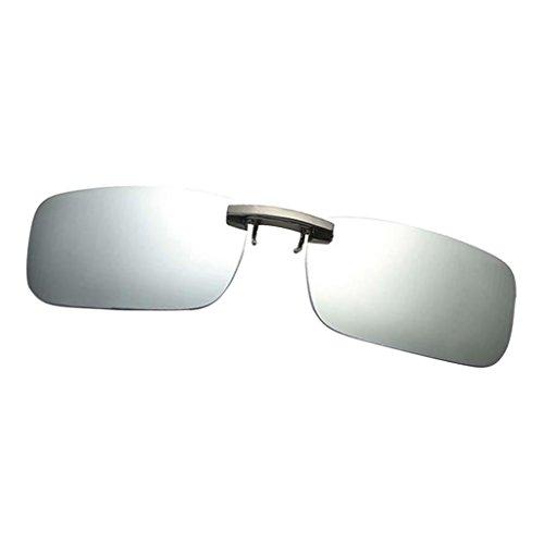 Harilla Trendy Driving - Gafas de Sol Polarizadas Unisex Abatibles con Clip para Miopía UV400 - plata blanca, como se describe