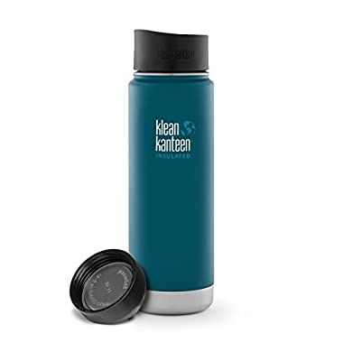 Klean Kanteen Coffee Set Wide Mouth Insulated Bottle w/ 2 Caps (Loop Cap and Cafe Cap) (Deep Sea, 12 Ounce) (Neptune Blue, 20 Ounce)