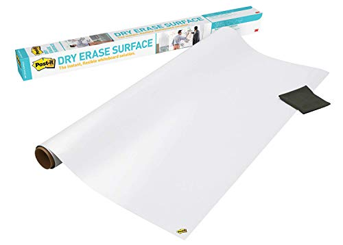 Post-it Dry Erase Whiteboard Film Surface for Walls, Doors, Tables, Chalkboards, Whiteboards, and More, Removable, Stain-Proof, Easy Installation, 6 ft x 4 ft Roll (DEF6X4A)