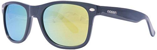 Ocean Sunglasses Beach Wayfarer - Gafas de Sol polarizadas - Montura : Negro Brillante - Lentes : Amarillo Espejo (18202.37)
