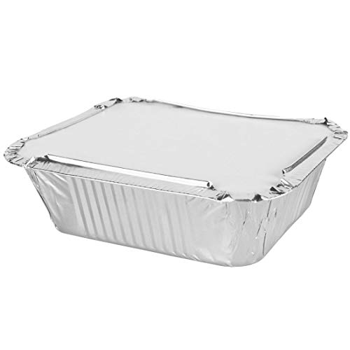 GOS - 50 x Aluminium Foil Food Containers plus 50 Lids - No2 Takeaway - Made in England - Same Day Posting if Ordered by 12 Noon Weekdays Only.